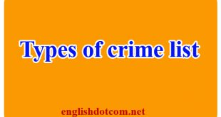 types of crime list