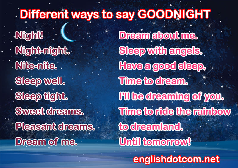 different ways to say goodnight